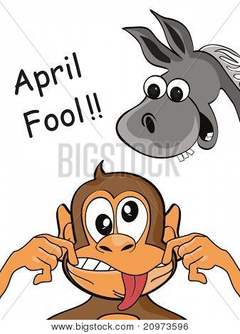 april fool background with monkey, ass