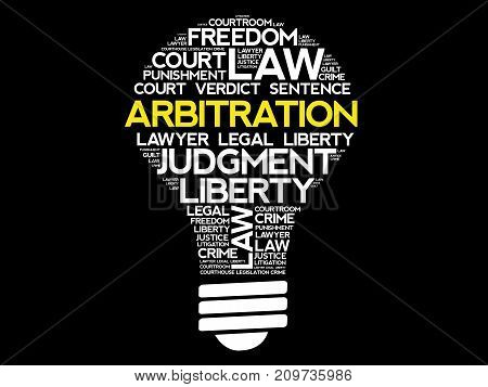 Arbitration Bulb Word Cloud Collage, Law Concept Background