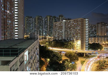 Choi Hung District At Night Time 2017