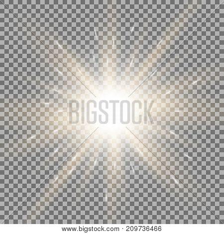 Shining Star On Transparent Background, Golden Color
