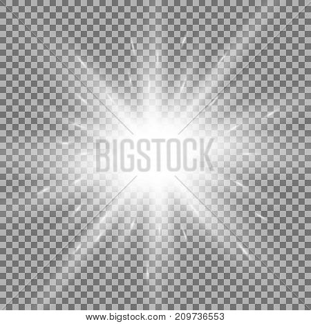 Shining Star On Transparent Background, White Color