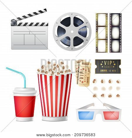 Cinema Movie Icons Set. Realistic Items Film Festival Directors Attributes TV. Cinematography Movie Festival Concept. Isolated Illustration