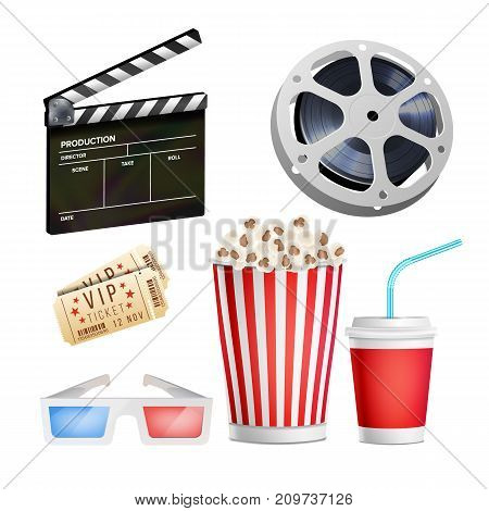 Cinema Movie Icons Set. Realistic Popcorn, 3D Glasses, Film-strip, Reel, video Film Disk With Tape, Film Clapper, Vintage Ticket. Cinematography Movie Festival Concept. Isolated Illustration