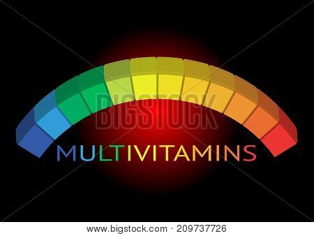 Multivitamin label inspiration, icon concept vitamins , logo vitamin, vector isolated or black background