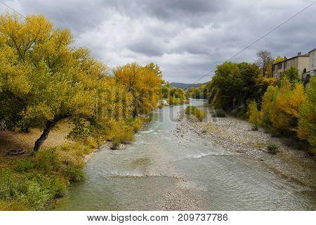 the Drome river in autumn season France