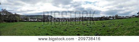 coastal view of small Devon seaside town