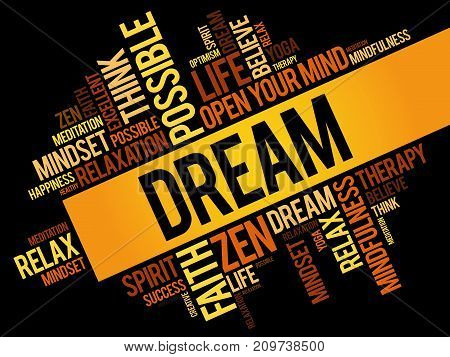 Dream word cloud collage , concept background