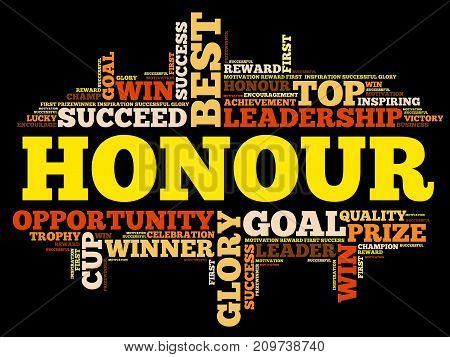 Honour word cloud collage , business concept background