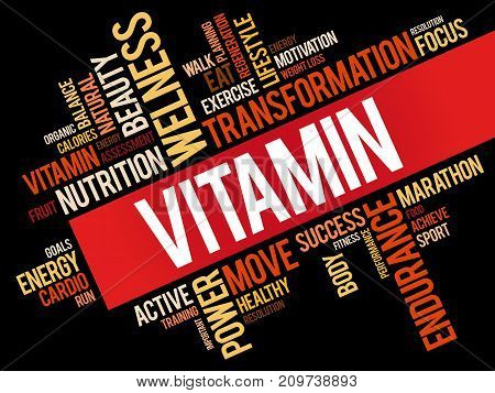 VITAMIN word cloud collage, background health concept