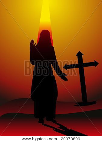 rays background with jesus, cross, vector illustration