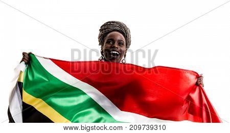 South African fan celebrating with the national flag