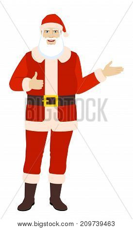 Santa Claus showing thumb up and showing something. Full length portrait of Santa Claus in a flat style. Vector illustration.