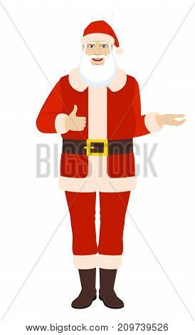 Santa Claus showing thumb up and gesticulating. Full length portrait of Santa Claus in a flat style. Vector illustration.