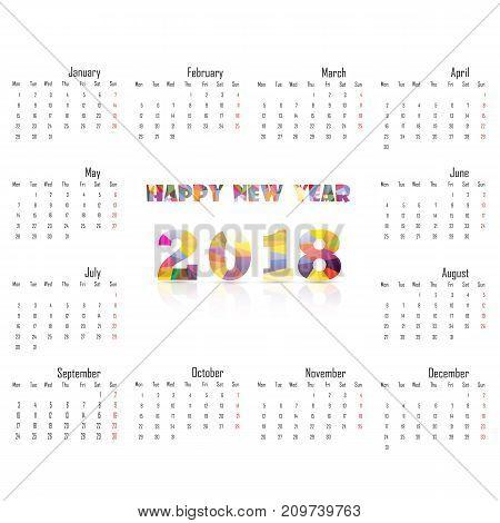 Calendar 2018 template. Set of 12 Months.Vector illustration