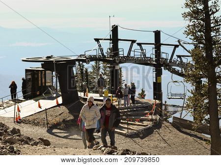 FLAGSTAFF, ARIZONA, OCTOBER 10. Arizona Snowbowl on October 10, 2017, near Flagstaff, Arizona. A Family Explores the Top of Arizona Snowbowl's Scenic Chairlift in the San Francisco Peaks near Flagstaff in Arizona.