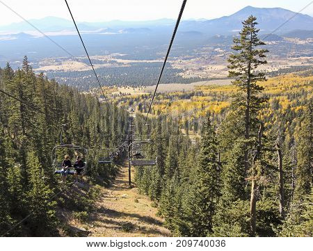 FLAGSTAFF, ARIZONA, OCTOBER 10. Arizona Snowbowl on October 10, 2017, near Flagstaff, Arizona. Arizona Snowbowl's Scenic Chairlift in the San Francisco Peaks near Flagstaff Arizona.