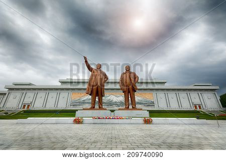 PYONGYANG,NORTH KOREA-OCTOBER 13,2017: Monument to Kim Il Sung and Kim Jong Il on Mansu Hill Grand Monument