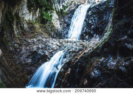 Switzerland Alps Gorges du durnand. Amazing cascading waterfalls.
