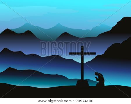 mountain hill good friday eve background with man praying