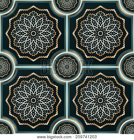Abstract seamless gothic tiles pattern. Vector texture or background.