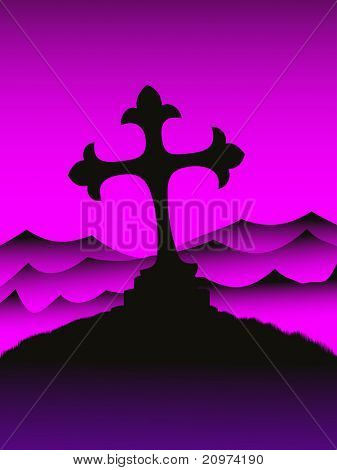 abstract mountain hill background with isolated cross