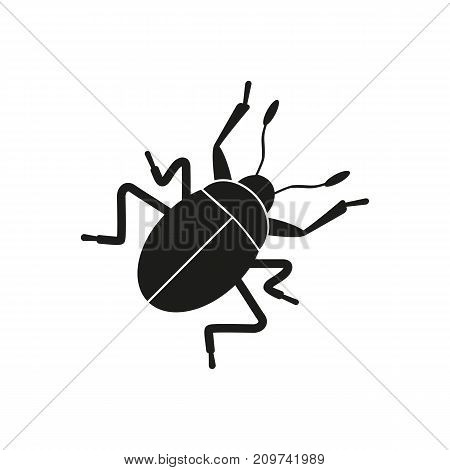 Simple icon of crawling bug. Caution sign, computer bug, cockroach. Pet types concept. Can be used for topics like fauna, terrarium, insects