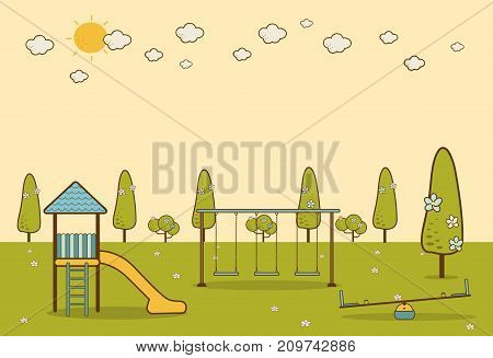 Kids playground cartoon concept background. childrens playground in a city park. Vector llustration in flat design