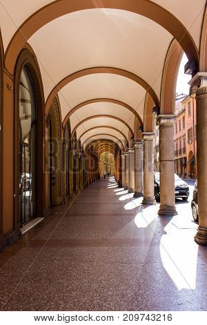BOLOGNA, ITALY - JULY 23, 2017: the porticoes of the city - Emilia Romagna