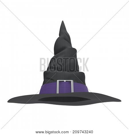Black witch hat with purple band isolated on white background. Front view. Halloween symbol. 3D illustration.