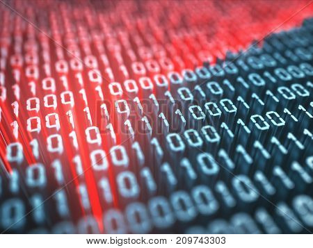 3D illustration. Binary numbers zeros and ones in the concept of program codes and mobile applications.