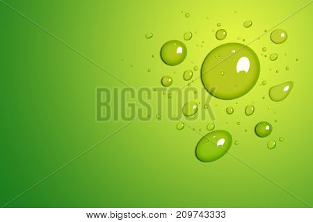 Clear water drop on green background 3D illustration.