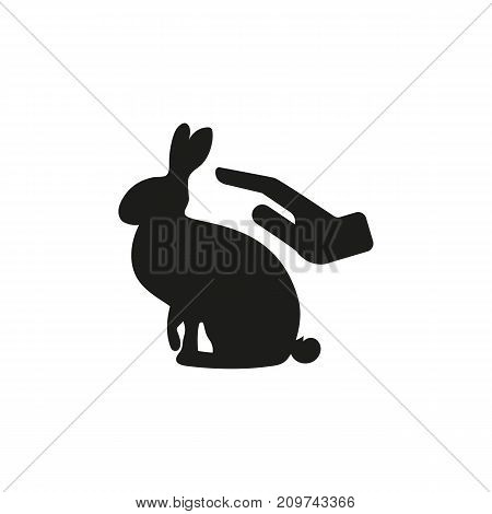 Simple icon of hand petting rabbit. Petting zoo, rabbit breeding, natural fur. Pet types concept. Can be used for topics like domestic animals, farm animals, zoology