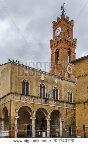 Clock and bell tower of Palazzo Comunale in Pienza Italy