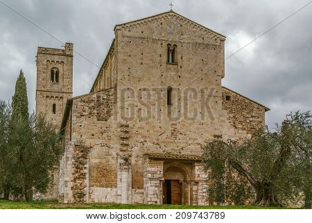 The Abbey of Sant Antimo is a former Benedictine monastery in the comune of Montalcino Tuscany Italy