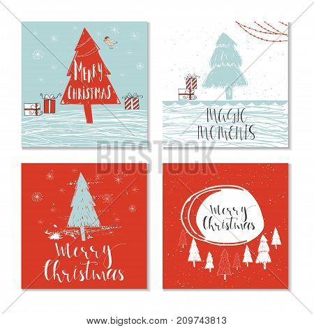 Set Of 4 Cute Christmas Gift Cards With Quote Merry Christmas, Merry And Bright