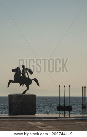 Monument To Alexander The Great (macedonian) On The Seaside In The Greek City Of Thessaloniki