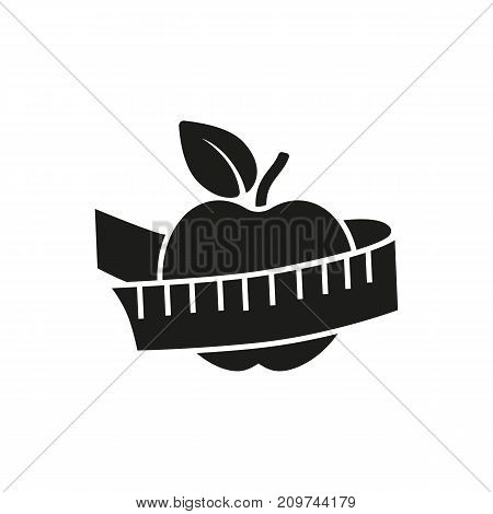 Simple icon of tape measure around apple. Sport nutrition, dieting, weight loss. Sporting goods concept. Can be used for topics like sport, health, food