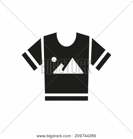 Simple icon of t-shirt with print. Promotional item, souvenir, sublimation print. Advertising concept. Can be used for topics like business, promotion, printing works