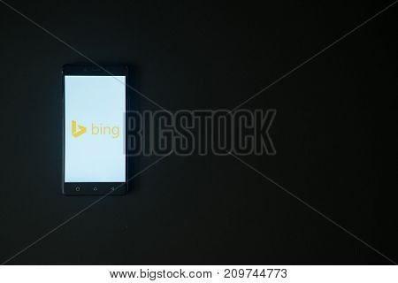 Los Angeles, USA, october 19, 2017: Microsoft bing logo on smartphone screen on black background.