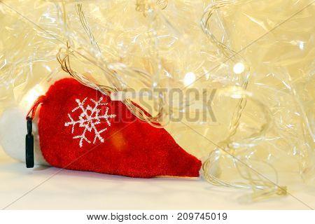 Christmas decoration - red - Orange light - stock photo.