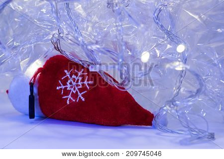 Christmas decoration -Red object with purple tone- stock photo