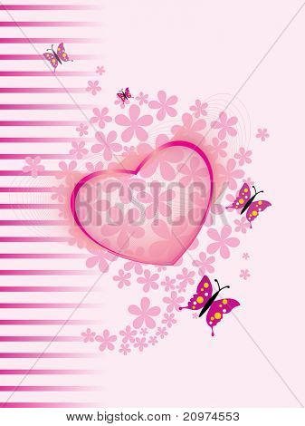 abstract bloom background with pink heart, butterfly