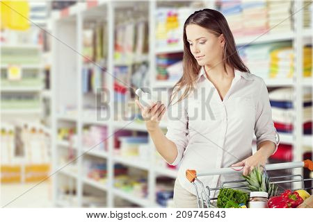 Cart shop woman consumerism discount package retail