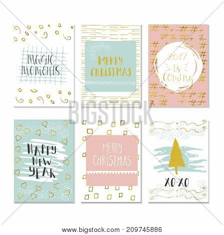 Set of 6 Christmas and Happy New Year greeting cards with handwritten brush lettering and decorative elements. Vector illustration for winter invitations cards posters and flyers.