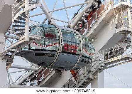 Westminster Bridge Road, London-September 6,2017: Close up of capsule of London Eye, millennium wheel on Westminster Bridge Road on September 6, 2017 in London United Kingdom