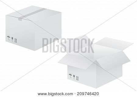 White cardboard box. Vector illustration isolated on white background