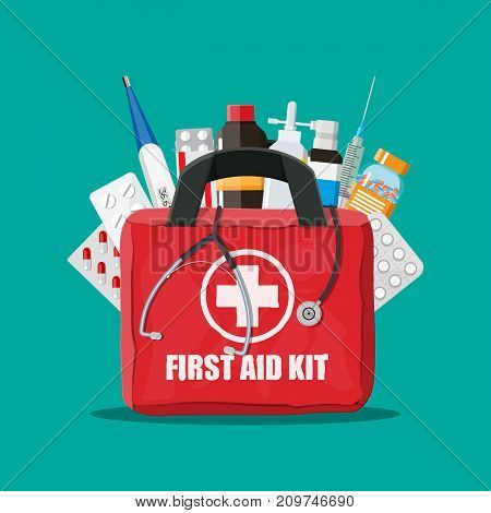 Medical first aid kit with different pills, phonendoscope, syringe and thermometer. Healthcare, hospital and medical diagnostics. Urgency and emergency services. Vector illustration in flat style