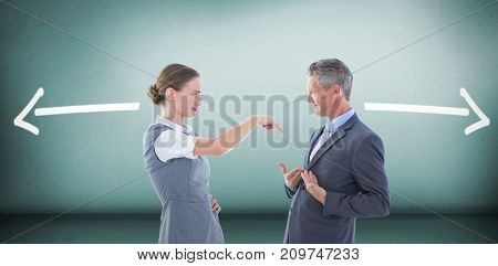 Business people in an argument against grey room