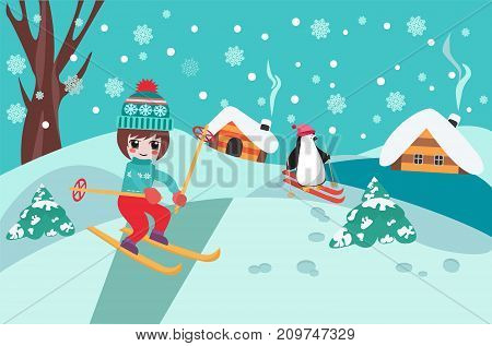 christmas pattern happy holidays winter landscape with cute chibi girl skiing and penguin. Merry Christmas collection background.