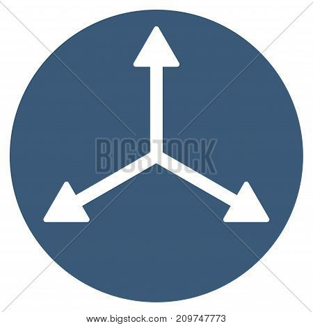 3D Isometry Directions vector icon. Flat blue symbol. Pictogram is isolated on a white background. Designed for web and software interfaces.